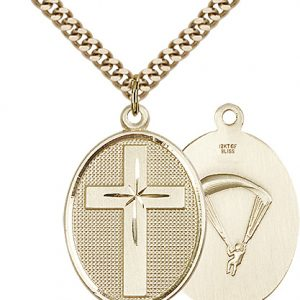 14kt Gold Filled Cross - Paratrooper Pendant