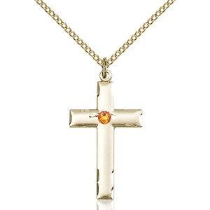 Cross Pendant - November Birthstone - Gold Filled #88218