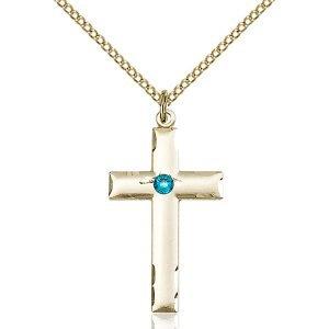 Cross Pendant - December Birthstone - Gold Filled #88219