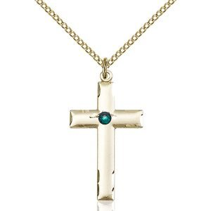 Cross Pendant - May Birthstone - Gold Filled #88223