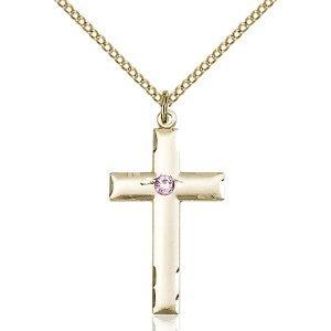 Cross Pendant - June Birthstone - Gold Filled #88224