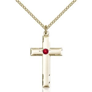 Cross Pendant - July Birthstone - Gold Filled #88225