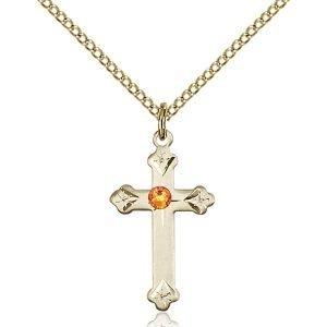 Cross Pendant - November Birthstone - Gold Filled #88254