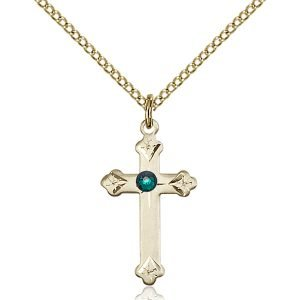 Cross Pendant - May Birthstone - Gold Filled #88259