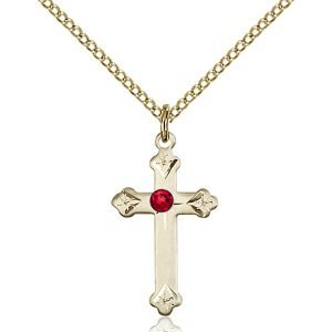 Cross Pendant - July Birthstone - Gold Filled #88261