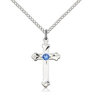 Cross Pendant - September Birthstone - Sterling Silver #88287