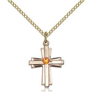 Cross Pendant - November Birthstone - Gold Filled #88290