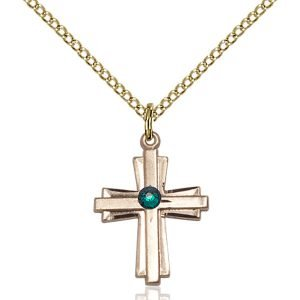 Cross Pendant - May Birthstone - Gold Filled #88295