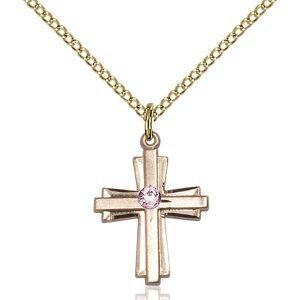 Cross Pendant - June Birthstone - Gold Filled #88296