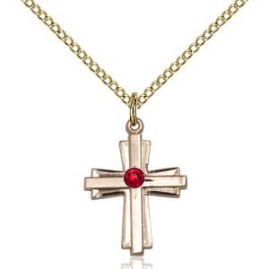 Cross Pendant - July Birthstone - Gold Filled #88297