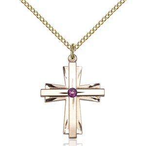 Cross Pendant - February Birthstone - Gold Filled #88328