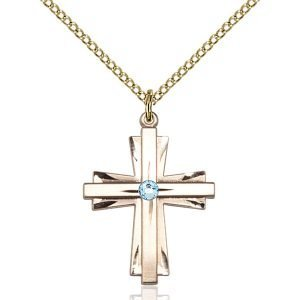 Cross Pendant - March Birthstone - Gold Filled #88329
