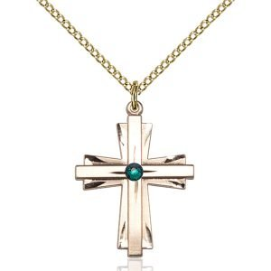 Cross Pendant - May Birthstone - Gold Filled #88331