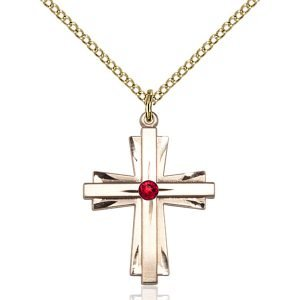 Cross Pendant - July Birthstone - Gold Filled #88333