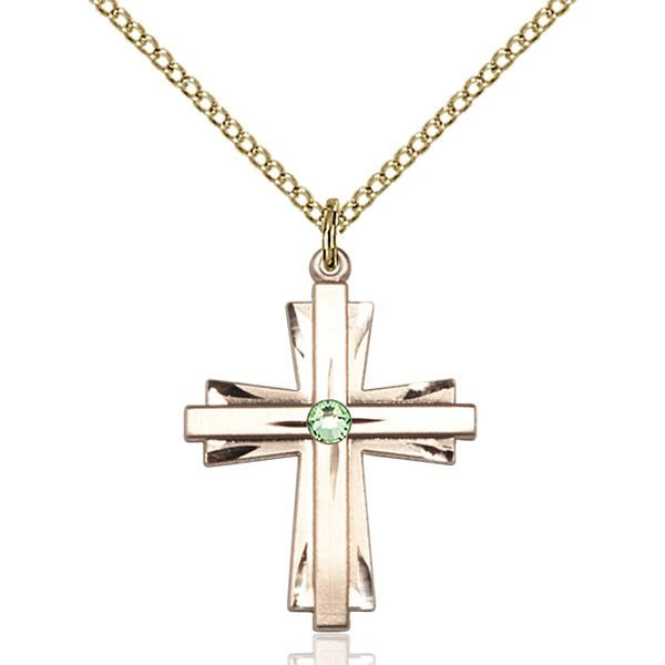 Cross Pendant - August Birthstone - Gold Filled #88334