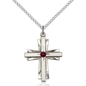 Cross Pendant - January Birthstone - Sterling Silver #88348