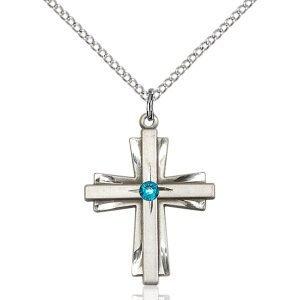Cross Pendant - December Birthstone - Sterling Silver #88351