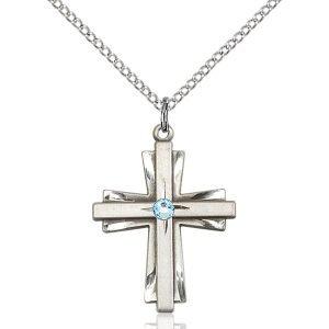 Cross Pendant - March Birthstone - Sterling Silver #88353