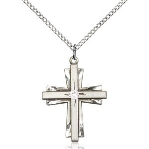 Cross Pendant - April Birthstone - Sterling Silver #88354