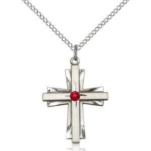Cross Pendant - July Birthstone - Sterling Silver #88357