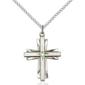 Cross Pendant - August Birthstone - Sterling Silver #88358