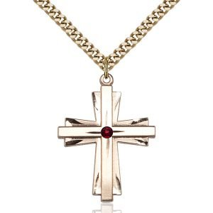 Cross Pendant - January Birthstone - Gold Filled #88360