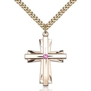 Cross Pendant - October Birthstone - Gold Filled #88361