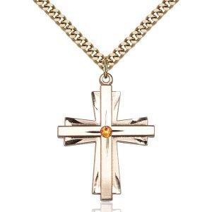 Cross Pendant - November Birthstone - Gold Filled #88362