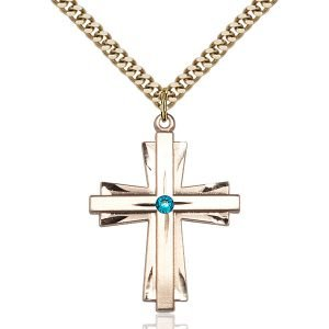 Cross Pendant - December Birthstone - Gold Filled #88363