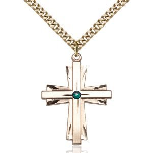 Cross Pendant - May Birthstone - Gold Filled #88367