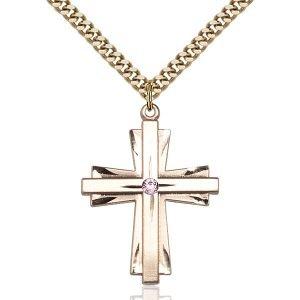 Cross Pendant - June Birthstone - Gold Filled #88368