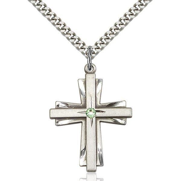 Cross Pendant - August Birthstone - Sterling Silver #88394
