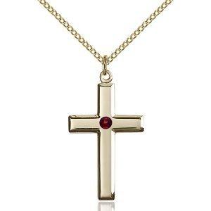 Cross Pendant - January Birthstone - Gold Filled #88444
