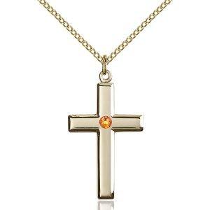 Cross Pendant - November Birthstone - Gold Filled #88446