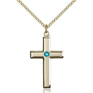 Cross Pendant - December Birthstone - Gold Filled #88447