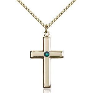 Cross Pendant - May Birthstone - Gold Filled #88451