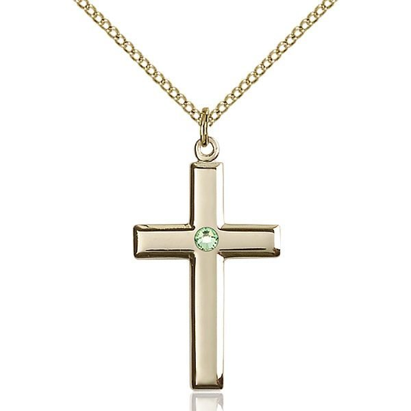 Cross Pendant - August Birthstone - Gold Filled #88454