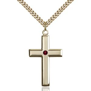 Cross Pendant - January Birthstone - Gold Filled #88480