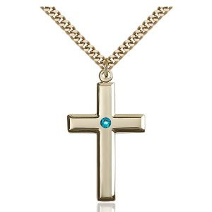 Cross Pendant - December Birthstone - Gold Filled #88483