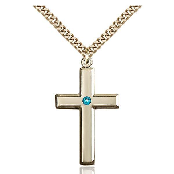 Cross Pendant - December Birthstone - Gold Filled #88483