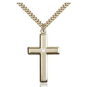 Cross Pendant - April Birthstone - Gold Filled #88486
