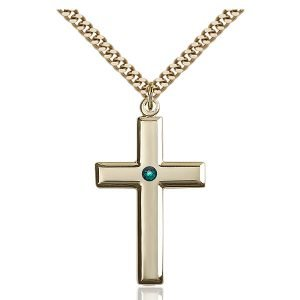 Cross Pendant - May Birthstone - Gold Filled #88487