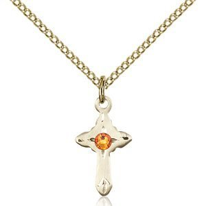 Cross Pendant - November Birthstone - Gold Filled #88554