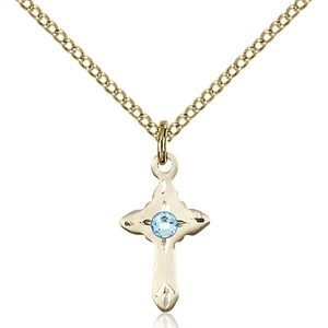 Cross Pendant - March Birthstone - Gold Filled #88557