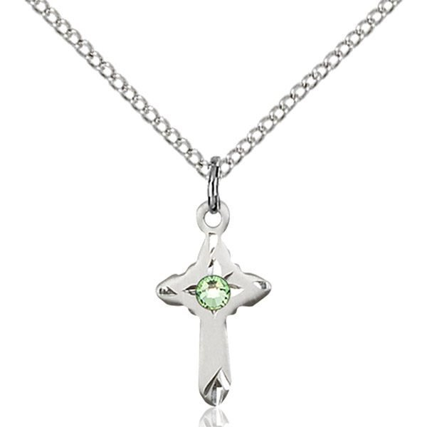 Cross Pendant - August Birthstone - Sterling Silver #88586