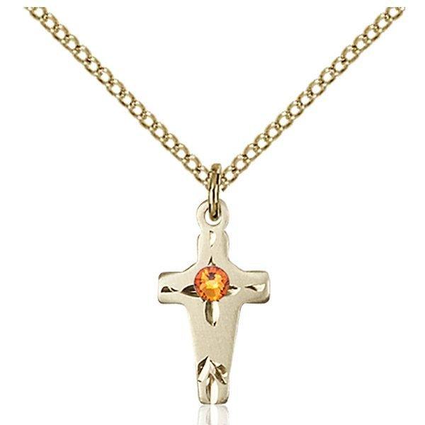 Cross Pendant - November Birthstone - Gold Filled #88590