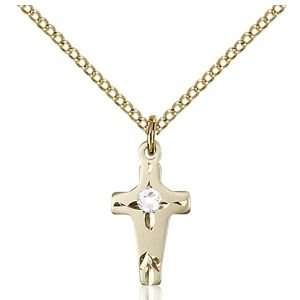 Cross Pendant - April Birthstone - Gold Filled #88594