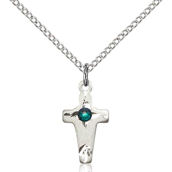 Cross Pendant - May Birthstone - Sterling Silver #88619