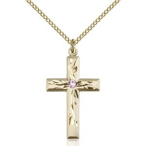 Cross Pendant - June Birthstone - Gold Filled #88983