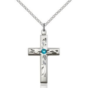 Cross Pendant - December Birthstone - Sterling Silver #89002